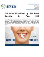 Services Provided by the Best Dentist in Box Hill.docx