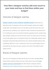 How Men's designer watches add extra touch to your looks and how to find them within your budget.pdf