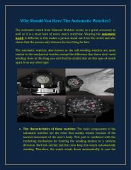 Why Should You Have The Automatic Watches.pdf