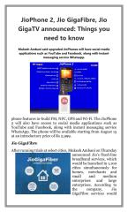 JioPhone 2 Jio GigaFibre Jio GigaTV announced  Things you need to know.pdf